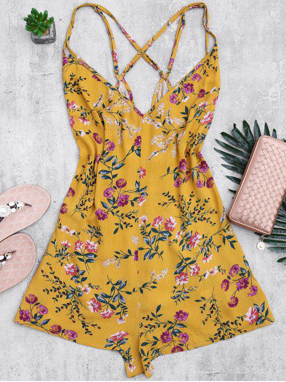 affordable Back Crossed Printed Romper - FLORAL M