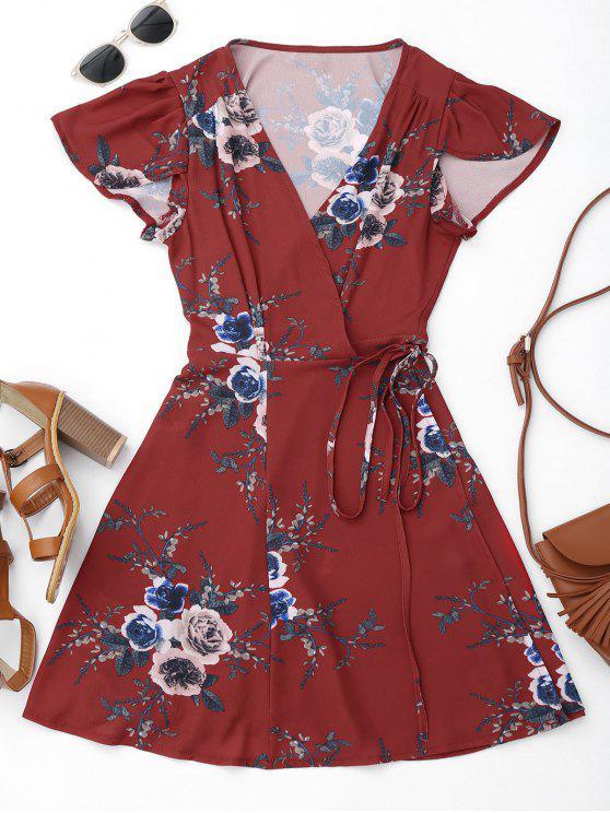 women Floral Beach Wrap Mini Dress - FLORAL M
