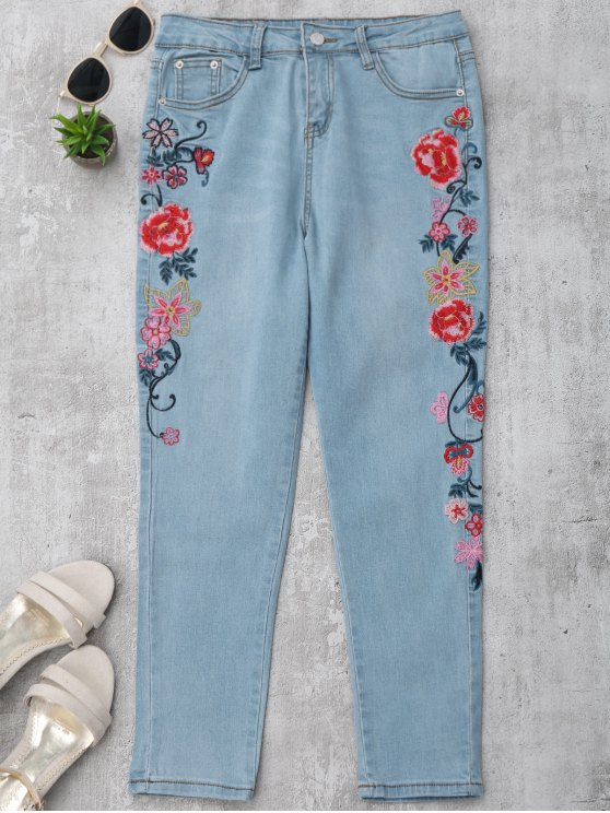 جينز ضيق مطرز بالأزهار رصاص - ازرق L