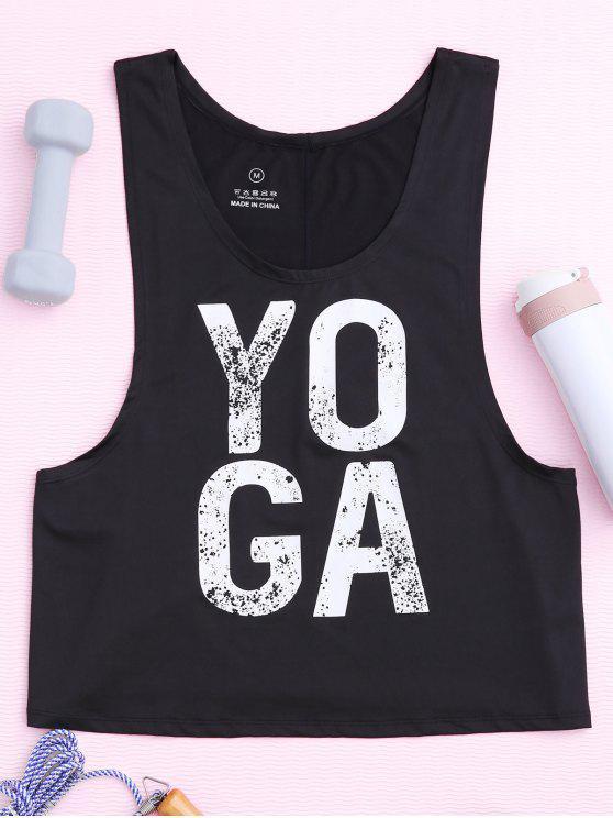 latest Yoga Dropped Armhole Sports Tank Top - BLACK M