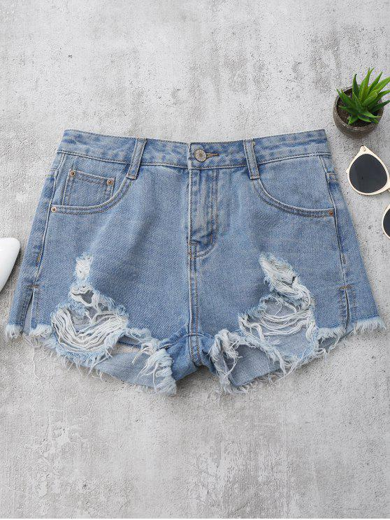 Denim Distressed Cutoffs Shorts - Denim Bleu M