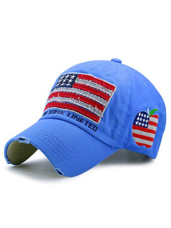 قبعة بيسبول مزينة بنمط علم أمريكا - أزرق