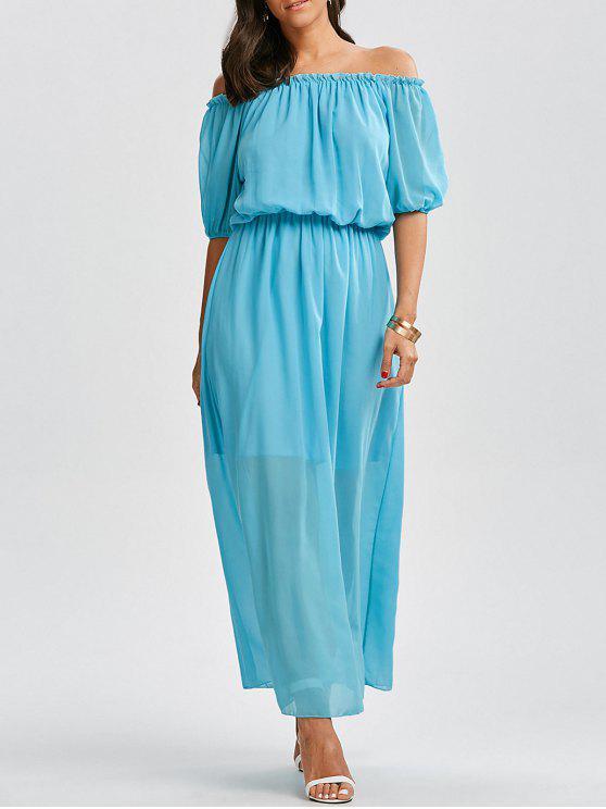 فستان ماكسي بلا اكتاف عالية الخصر شيفون - البحيرة الزرقاء L