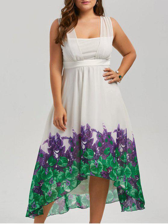 Plus Size Chiffon Beach A Line High Low Flowy Dress White Plus Size