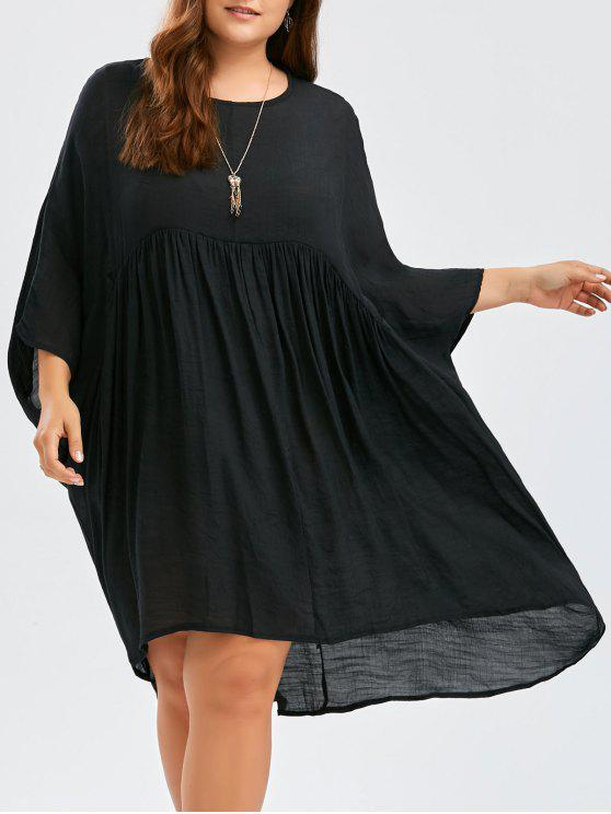 2018 Dolman Sleeve Plus Size High Low Smock Dress In Black One Size