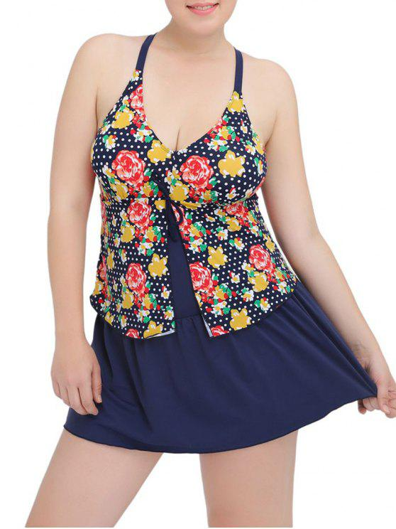 59d02cabd5 Plus Size Floral Printed Plunge Modest One Piece Swimsuit - Purplish Blue  6xl