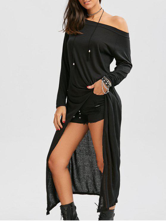 قبالة الكتف عالية منخفضة فستان ماكسي - أسود 2XL