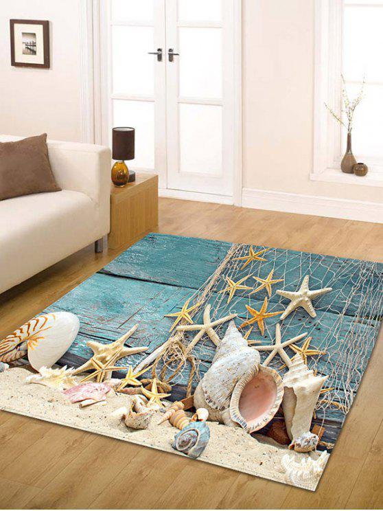 بحري نجم البحر طباعة الفانيلا مقاومة للانزلاق البساط الحمام - أزرق W31.5 بوصة * L47 بوصة