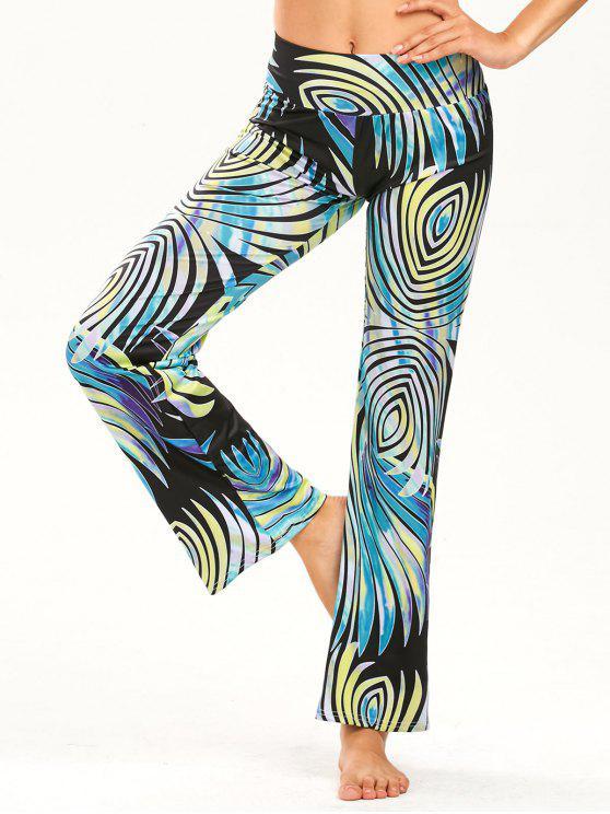 Stampa pantaloni diritti elastici larghi della cintura - colori misti S