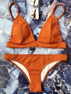 Traje De Bikini Sin Aros Con Tirante Fino Con Escote Pico - Marrón M