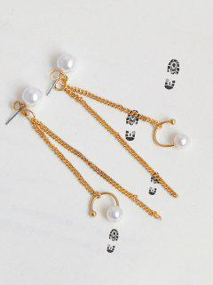 Artificial Pearl Fringed Front Back Earrings - Golden