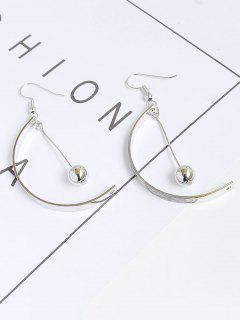 Half Circle Metal Ball Hook Earrings - Silver
