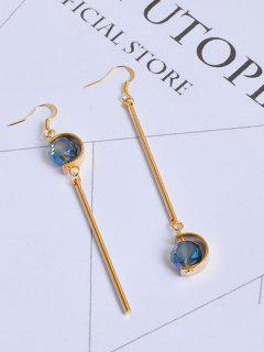 Faux Sapphire Ball Bar Hook Earrings - Golden