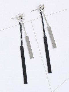 Metal Bar Chain Front Back Earrings - Silver