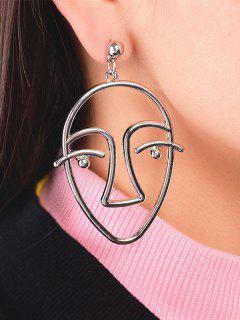 Metal Funny Face Earrings - Silver