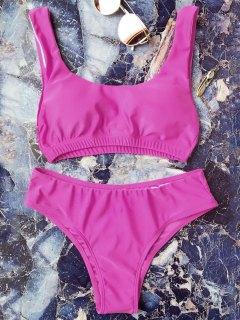 Padded Scoop Bikini Set - Rose Red L