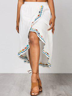 Front Slit Embroidered Asymmetrical Skirt - White L