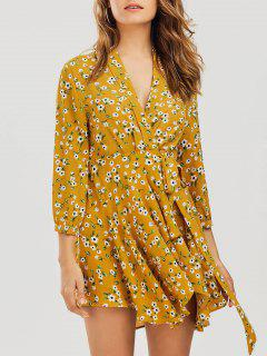 Floral Asymmetrical Wrap Mini Dress - Floral S