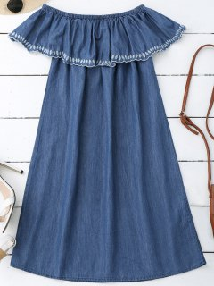 Embroidered Off Shoulder Mini Dress - Denim Blue S