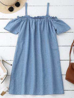 Straight Casual Cold Shoulder Dress - Light Blue S