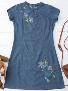 Floral Embroidered Mini Denim Dress - Denim Blue S