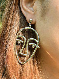 Metal Funny Face Earrings - Golden