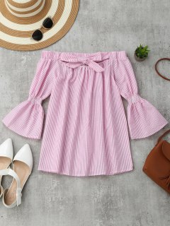 Stripes Flare Sleeve Off Shoulder Top - Stripe L