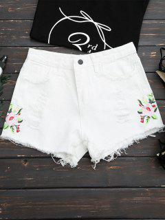 Frayed Hem Floral Embroidered Ripped Shorts - White S