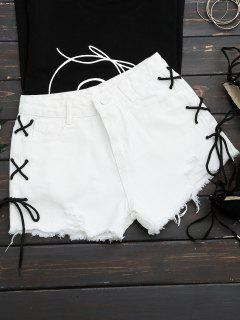 Frayed Side Lace Up Ripped Denim Shorts - White L