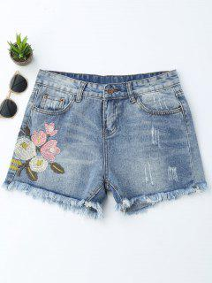 Embroidered Ripped Cutoffs Denim Shorts - Denim Blue M