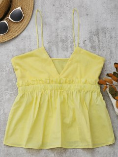 Cami Ruffles Smocked Tank Top - Yellow S