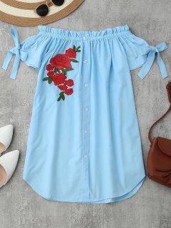Floral Bordado De Hombro Mini Vestido - Azul Claro S