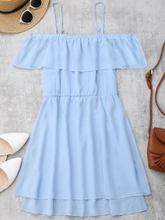 Ruffles Chiffon Cold Shoulder Mini Dress - Light Blue M