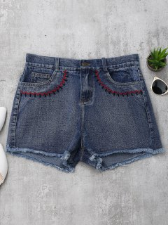 Embroidered Cutoffs Denim Shorts - Denim Blue S