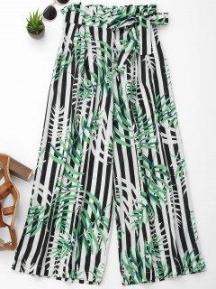 Breites Bein Hose Mit Blätterdrucken Und Streifen - S