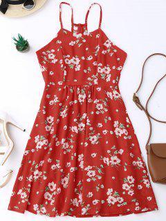 Robe Plissée à Bretelle Imprimée Petite Fleur - Rouge Xl