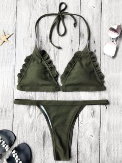 Rib Texture Frilled Thong Bikini Set - Deep Green M