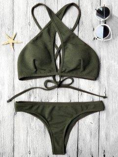 Rib Texture Keyhole Wrap Bikini Set - Deep Green L