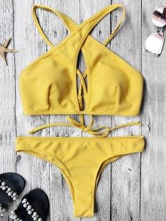 Rib Texture Keyhole Wrap Bikini Set - Yellow M