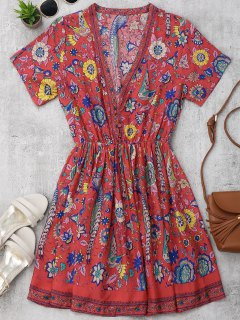 Floral Half Buttoned A-Line Dress - Floral L