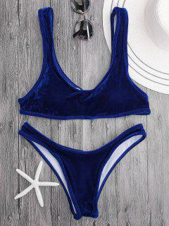 Ensemble De Bikini En Velours Col Bas - Bleu Royal S
