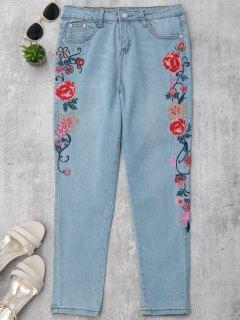 Skinny Blumen Gestickte Bleistift Jeans - Denim Blau S