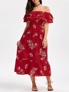 Vestido De Cintura De Imperio De Flores De Hombros Al Aire Con Volantes - Rojo Xl