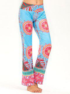Print Wide High Waistband Straight Pants - Xl