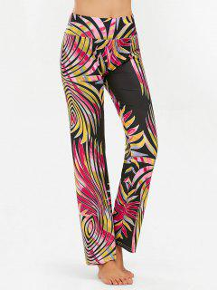 High Wide Bund Straight Hosen Mit Print - Xl