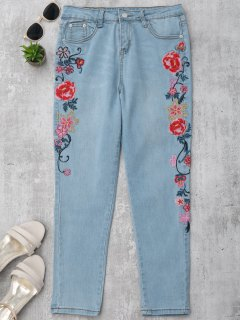 Skinny Floral Embroidered Pencil Jeans - Denim Blue M