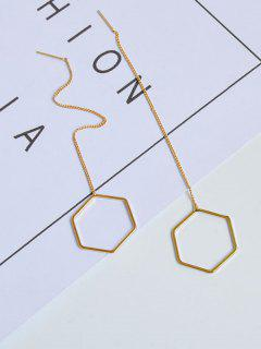 Pendientes De Metal Con Cadena Hexagonal - Dorado