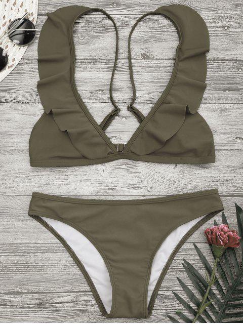 buy Padded Ruffle Strap Bikini Set - KHAKI S Mobile