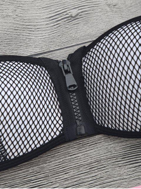 affordable Zip Fishnet Cupped Bandeau Bikini Set - PINK M Mobile