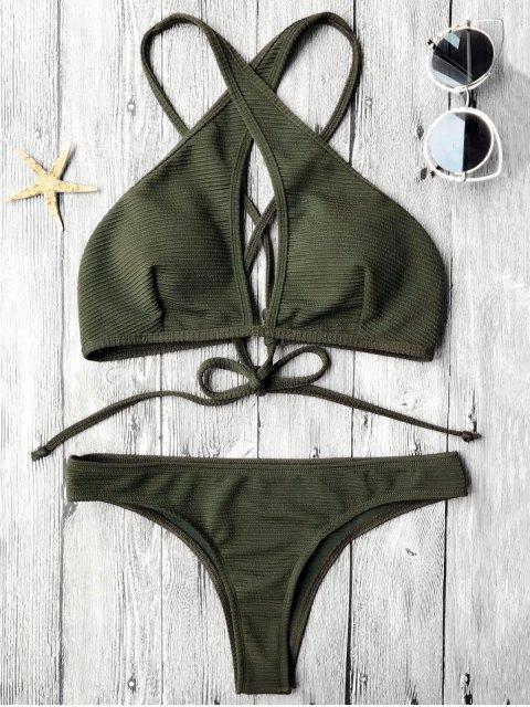hot Rib Texture Keyhole Wrap Bikini Set - DEEP GREEN S Mobile
